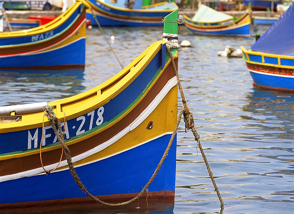Colourful boat in Marsaxlokk, Malta, Mediterranean, Europe