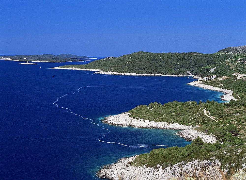 Aerial view of the coast of Hvar island, Dalmatia, Croatia, Europe
