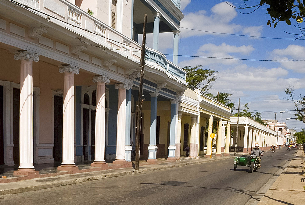 Rows of columns in the Paseo del Prado, the main avenue, Cienfuegos, Cuba, West Indies, Central America