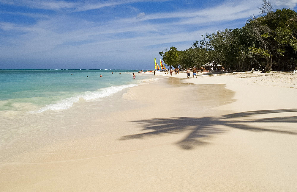 The shadow of a palm tree on the beach and emerald sea Guardalavaca Beach, Guardalavaca, Cuba, West Indies, Central America