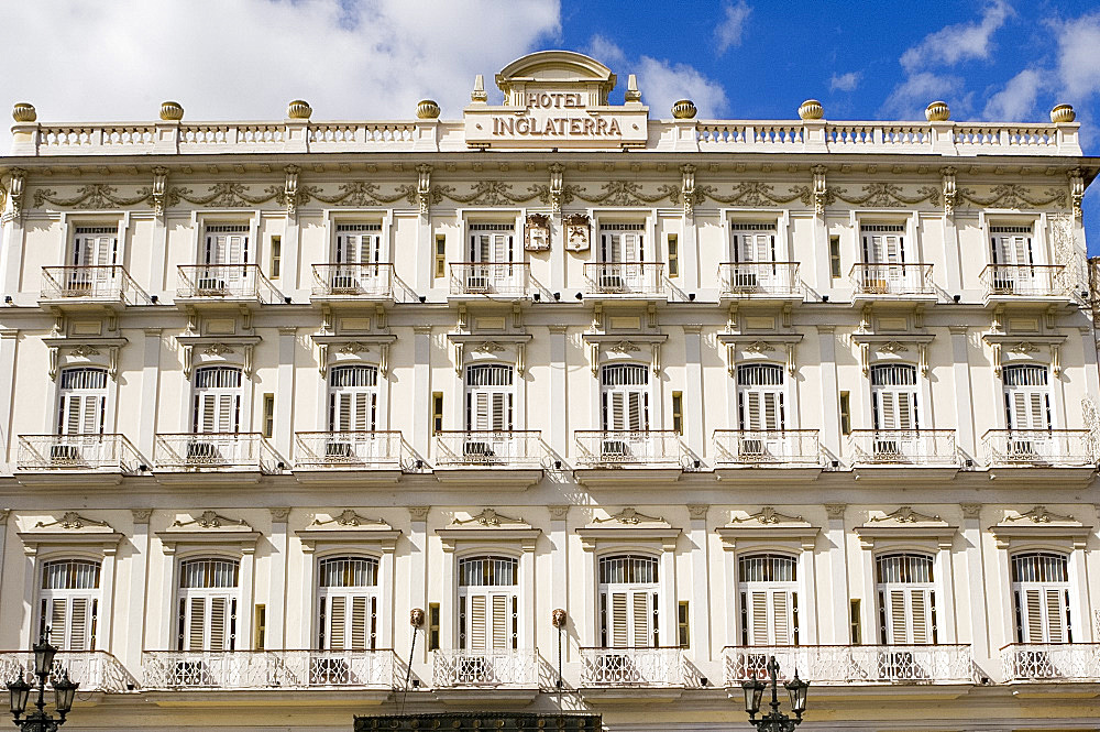 Exterior of the Inglaterra Hotel, Havana, Cuba, West Indies, Central America