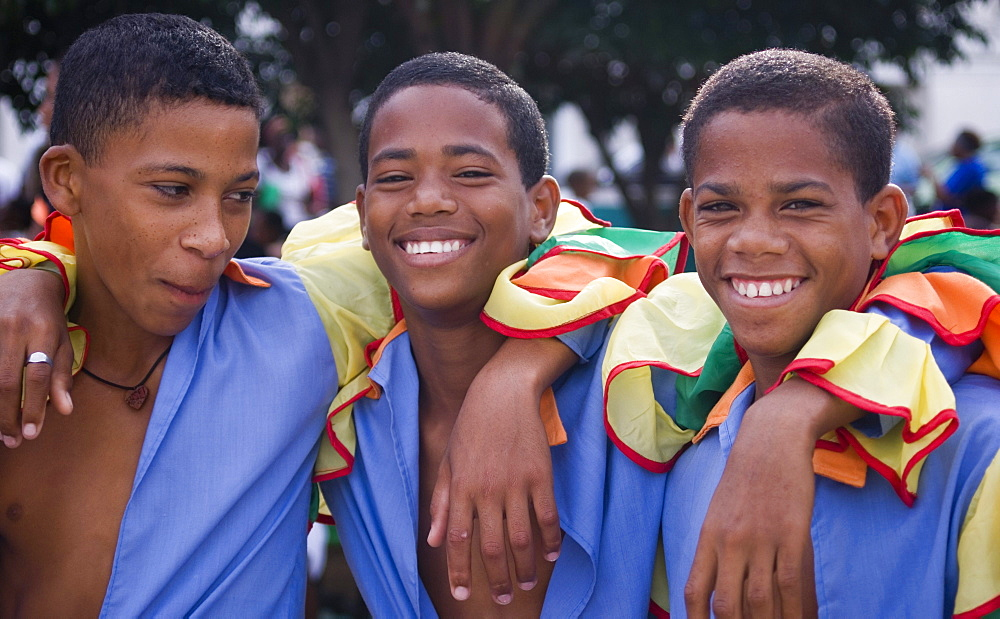 Young boys dressed in colourful costumes for a school festival, Santiago de Cuba, Cuba, West Indies, Central America