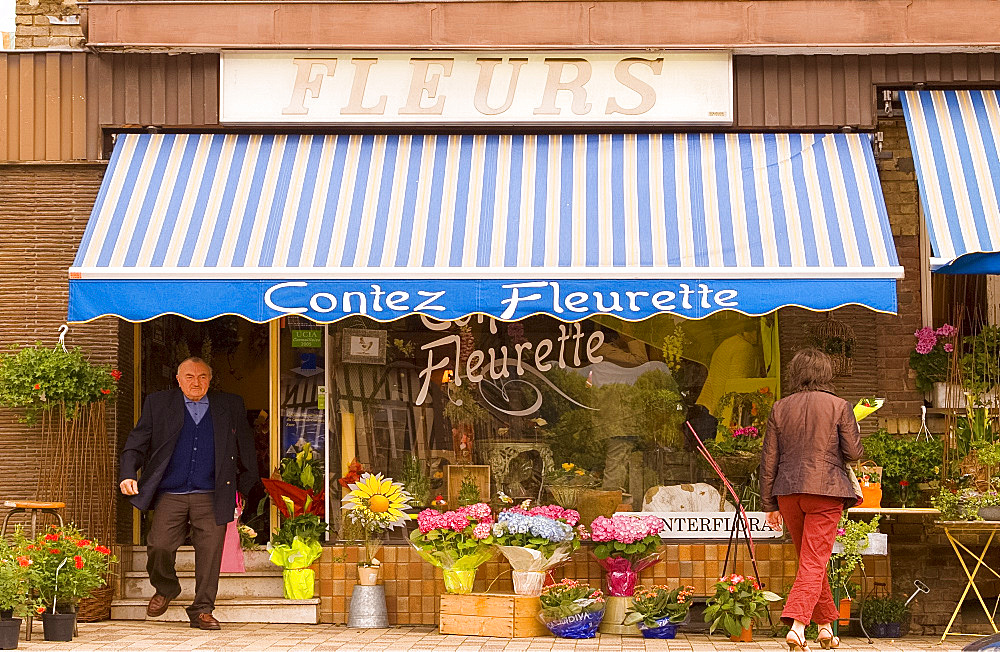 A flower shop in the town of Cormeilles, Normandy, France, Europe