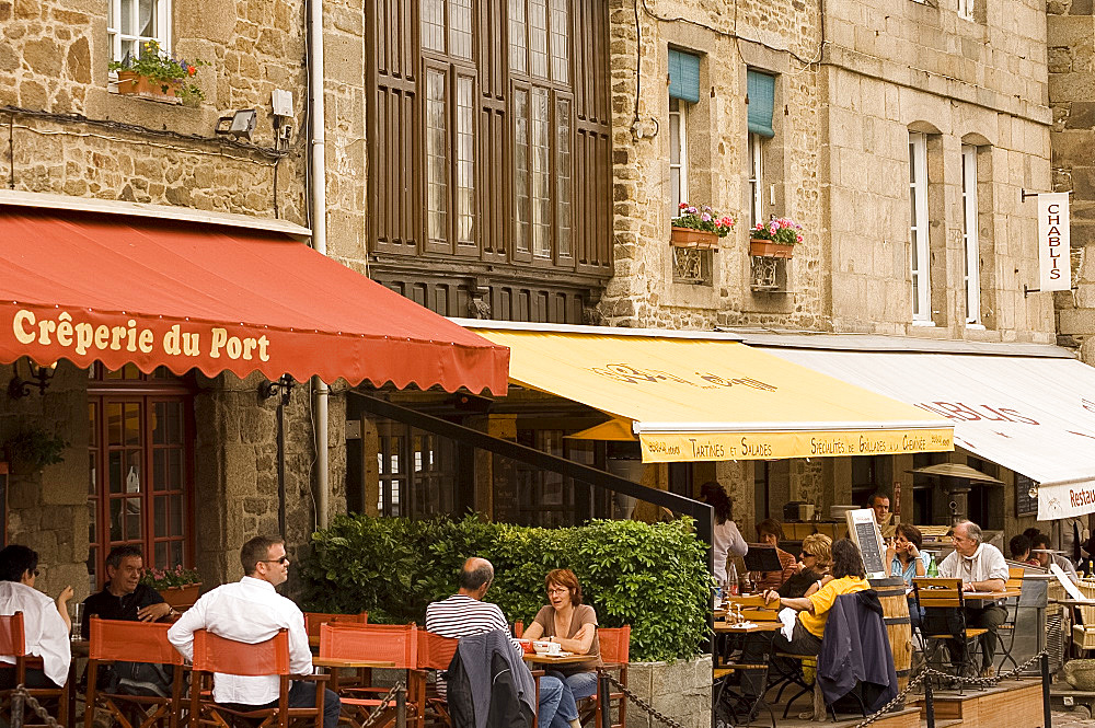Cafes lining the waterfront in Port du Dinan, Brittany, France, Europe