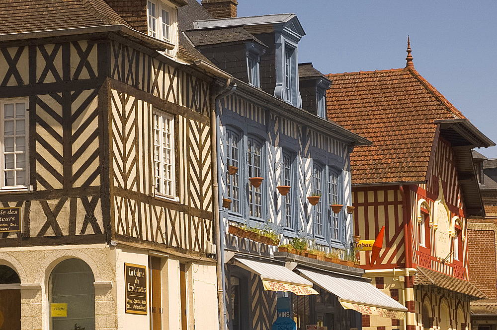 Half timbered houses in Blangy le Chateau, Normandy, France, Europe