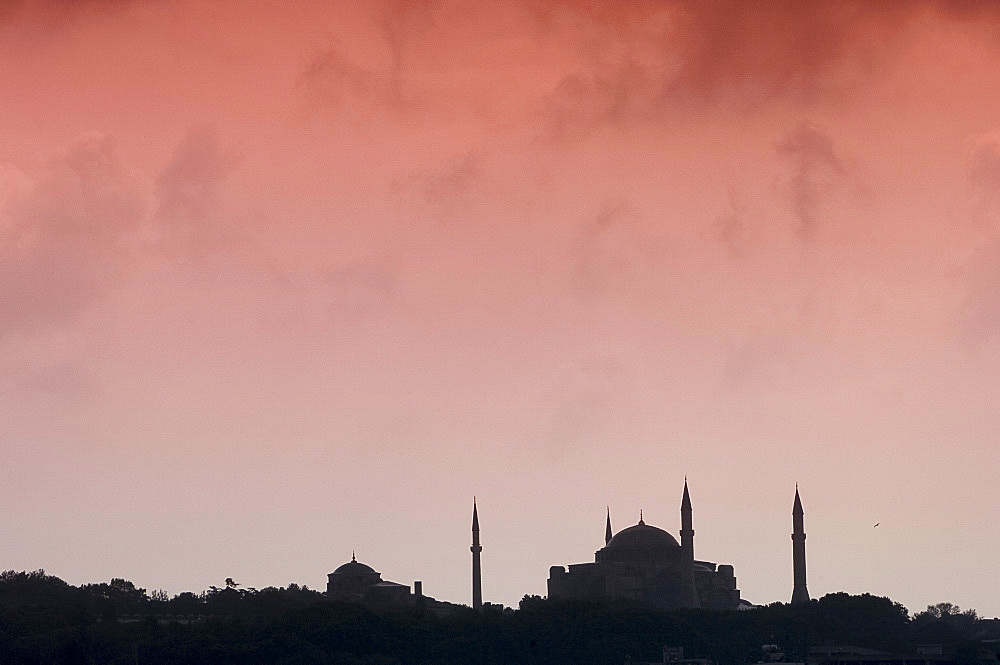 The Istanbul skyline including the Haghia Sofia (Aya Sofya), UNESCO World Heritage Site, Istanbul, Turkey, Europe, Eurasia - 149-5371