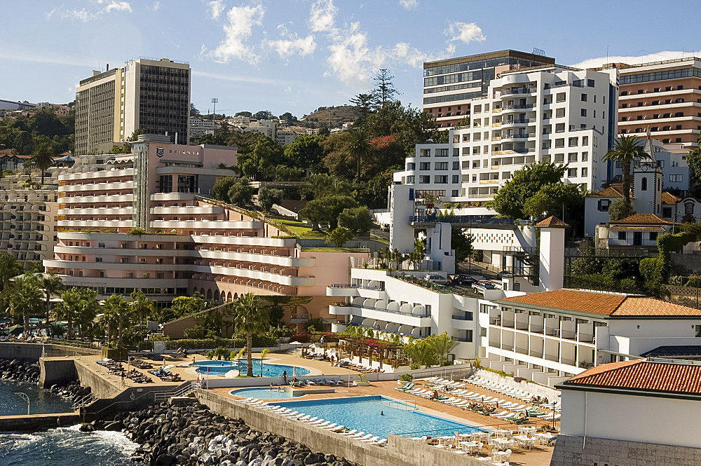 High rise hotels along the coast west of Funchal, Madeira, Portugal, Europe