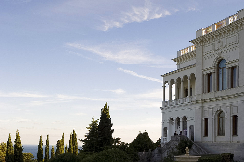 The Livadia Palace and a view over the garden to the Black Sea, Yalta, Crimea, Ukraine, Europe