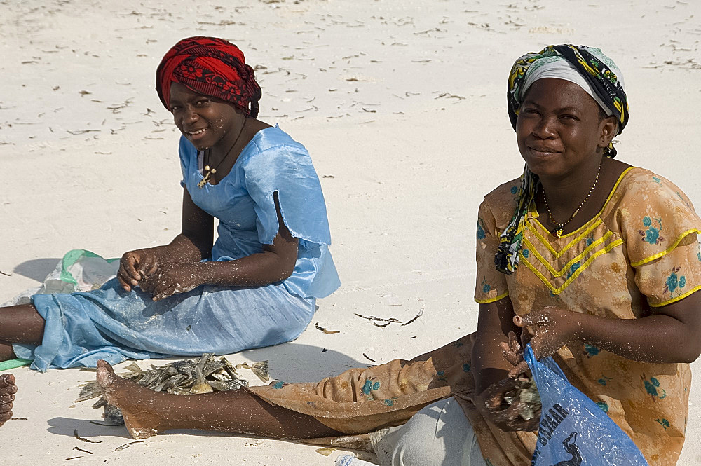 Local women in colourful dress sorting clams on the beach, Paje, Zanzibar, Tanzania, East Africa, Africa