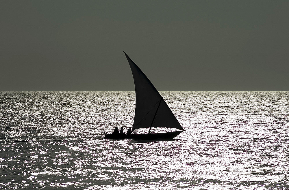 A dhow in silhouette near Stone Town, Zanzibar, Tanzania, East Africa, Africa