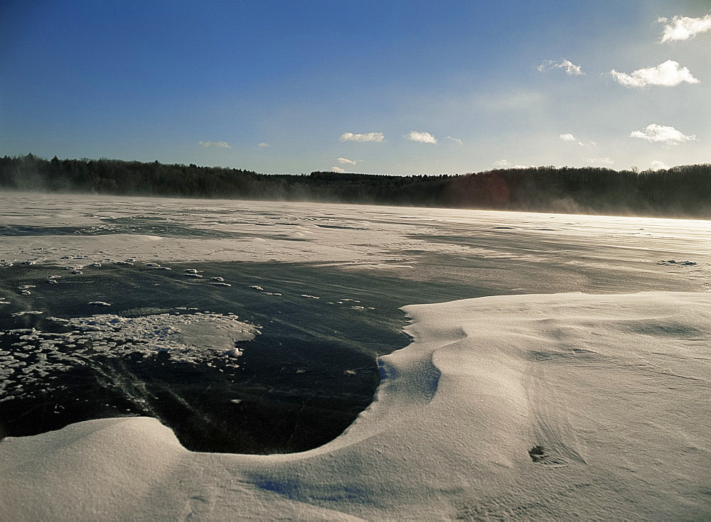 Ice and snow on Lake Myosotis, Rensselaerville, New York State, United States of America, North America