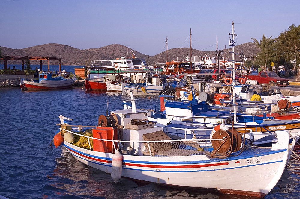 Fishing boats in the harbour in Elounda in Eastern Crete, Greek Islands, Greece, Europe