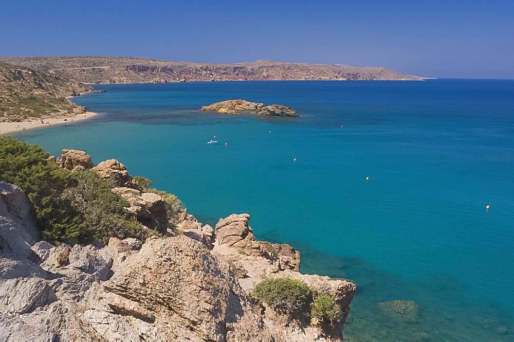 A view of the coast at Vai in Eastern Crete, Greek Islands, Greece, Europe