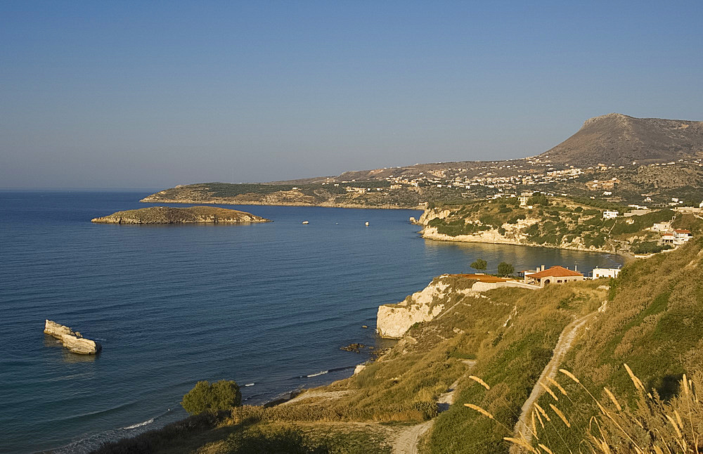 A view of the northern coast of Crete near Almiridia, Crete, Greek Islands, Greece, Europe