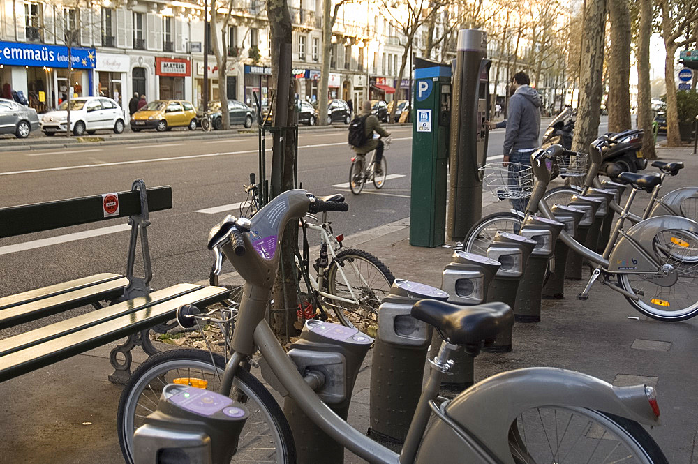 Velib public bicycles for rent on a Paris street, Paris, France, Europe