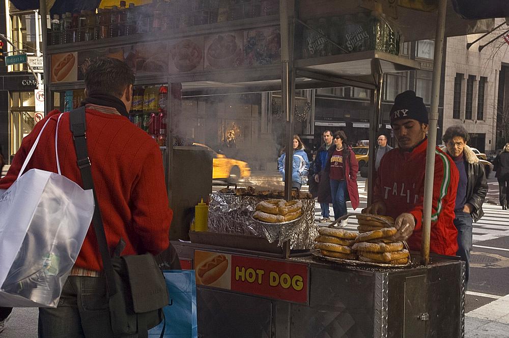A hotdog vendor on Madison Avenue, Manhattan, New York City, United States of America, North America
