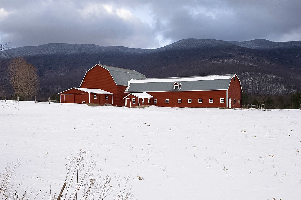 A traditonal red painted barn surrounded by snow and the Green Mountains in the background, Vermont, United States of America