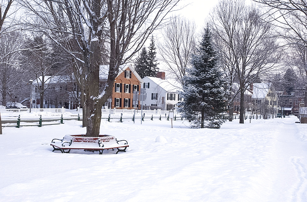 The Village Green covered with snow, Woodstock, Vermont, New England, United States of America, North America