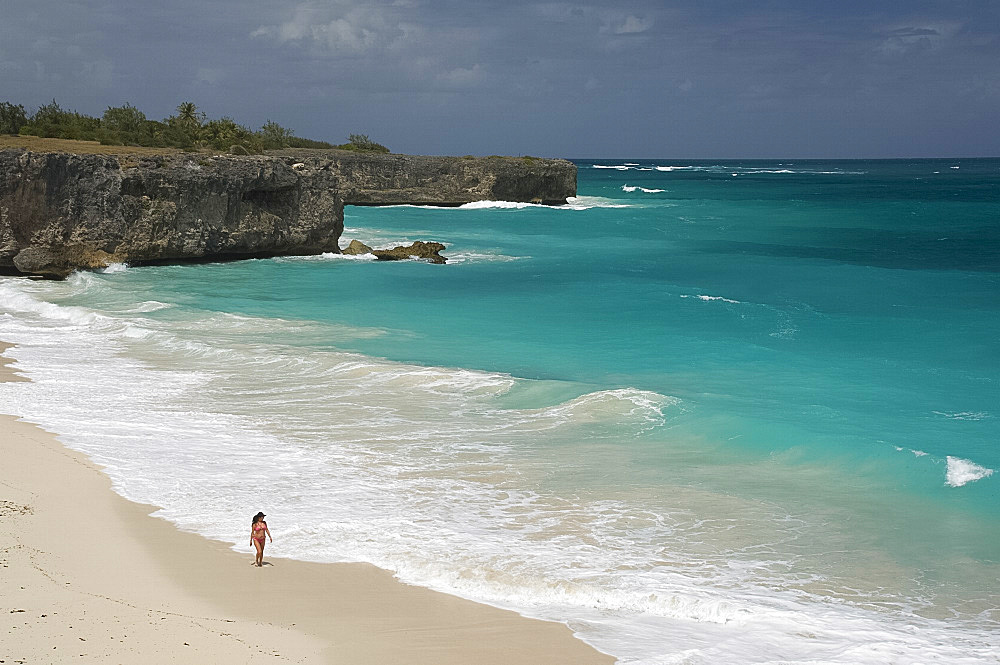 White sand and surf at Bottom Bay on the east coast of Barbados, The Windward Islands, West Indies, Caribbean, Central America