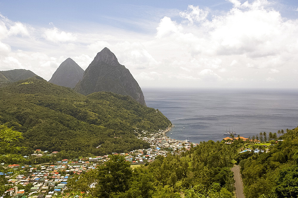 An aerial view of the Pitons and the town of Soufriere, St. Lucia, The Windward Islands, West Indies, Caribbean, Central America