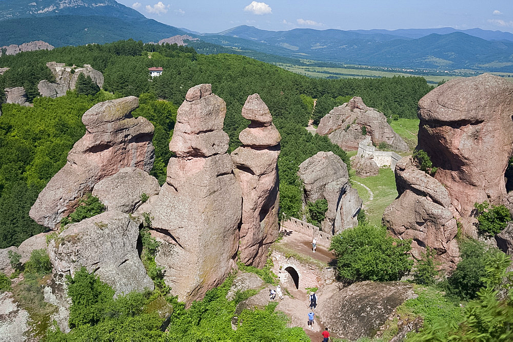 The towering natural rock formations at Belogradchik Fortress, Bulgaria, Europe