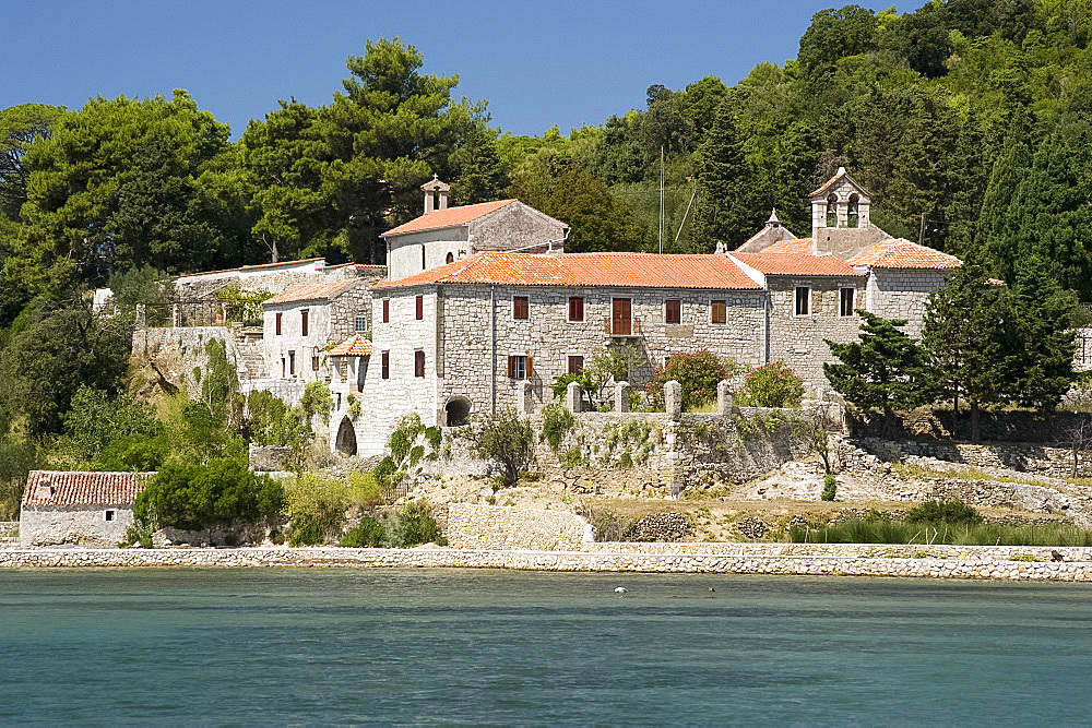 The Franciscan Monastery of St. Euphemia built in 1446 near Rab Town, island of Rab, Kvarner Region, Croatia, Europe