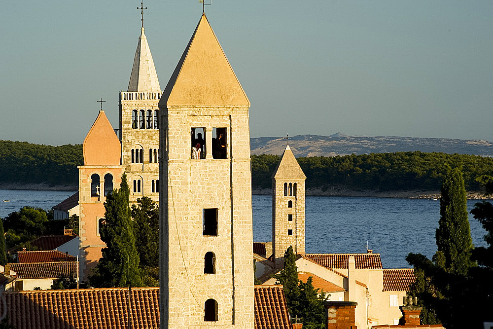 The four medieval bell towers of Rab Town, island of Rab, Kvarner region, Croatia, Europe