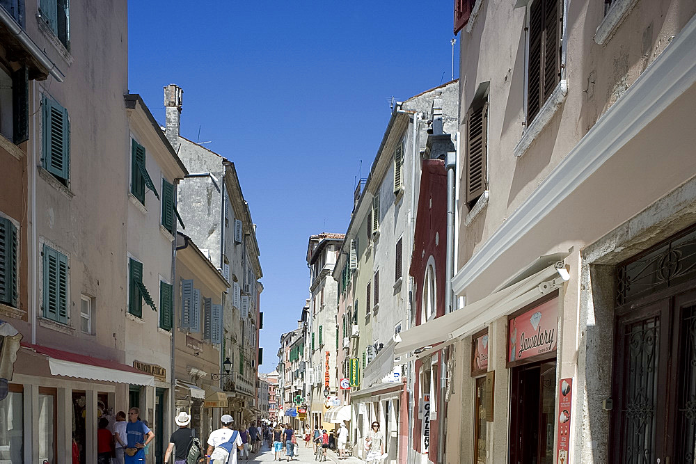 Via Carrera, the main shopping street in Rovinj, Istria, Croatia, Europe