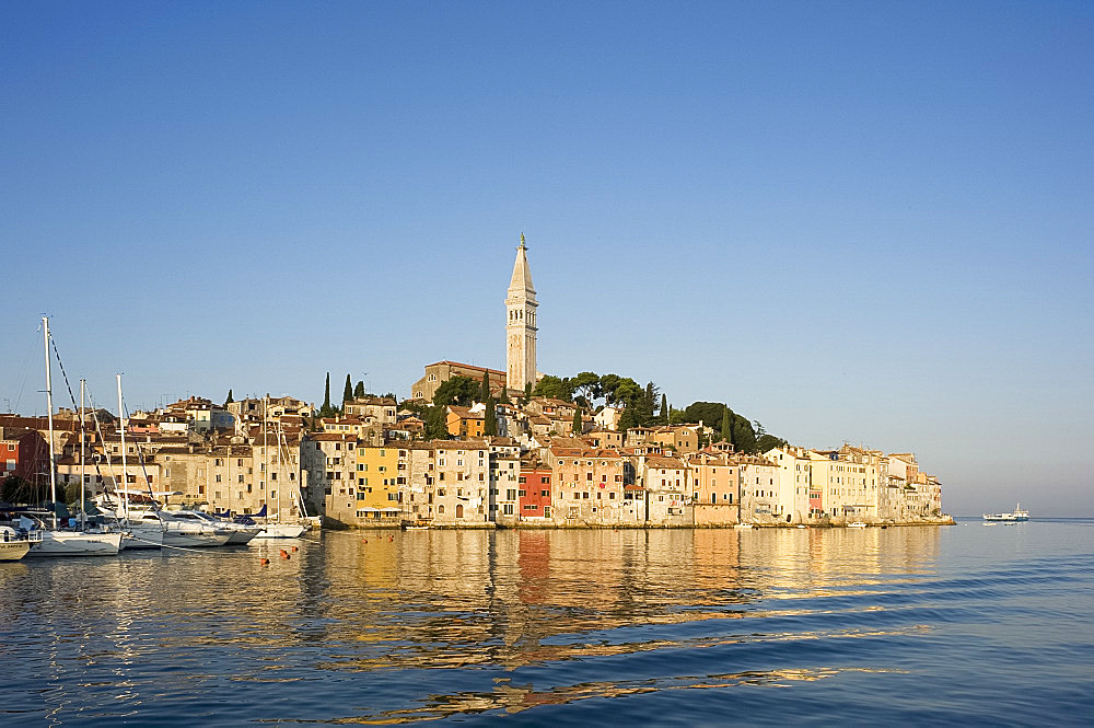 The Cathedral of St. Euphemia and the old Venetian style buildings of Rovinj at sunrise, Istria, Croatia, Adriatic, Europe
