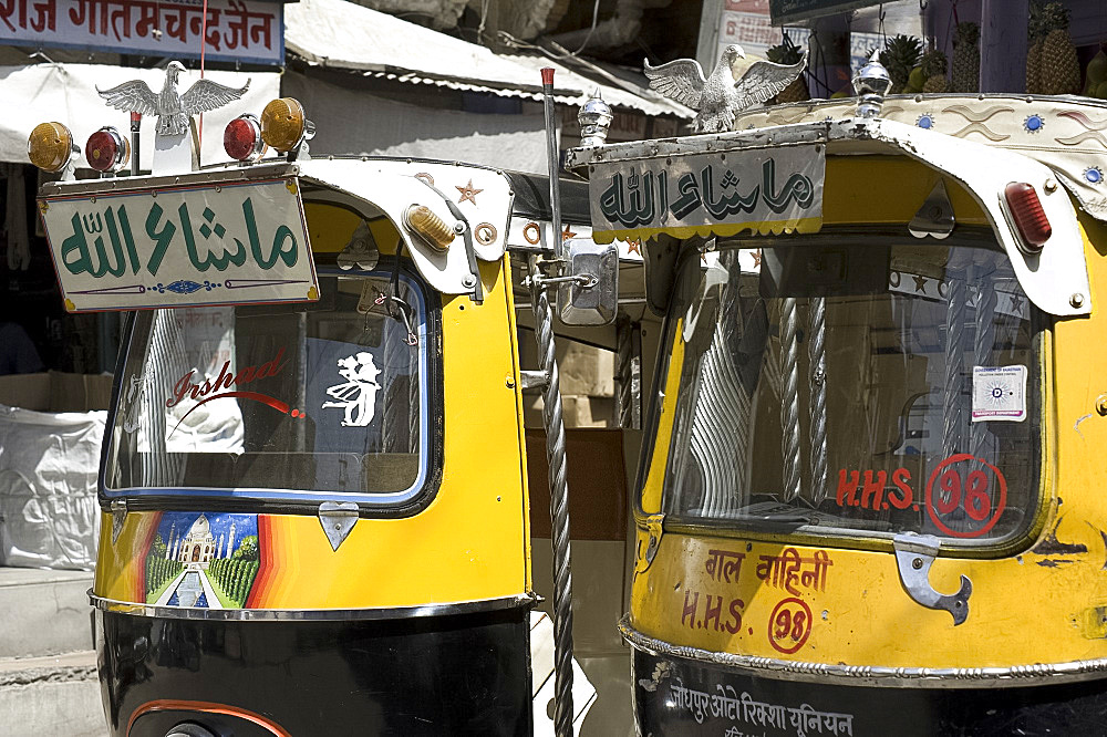 Auto rickshaws in Jodhpur, Rajasthan, India, Asia