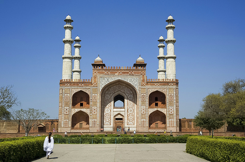 The entrance to Akbar's Mausoleum at Sikandra near Agra, Uttar Pradesh, India, Asia
