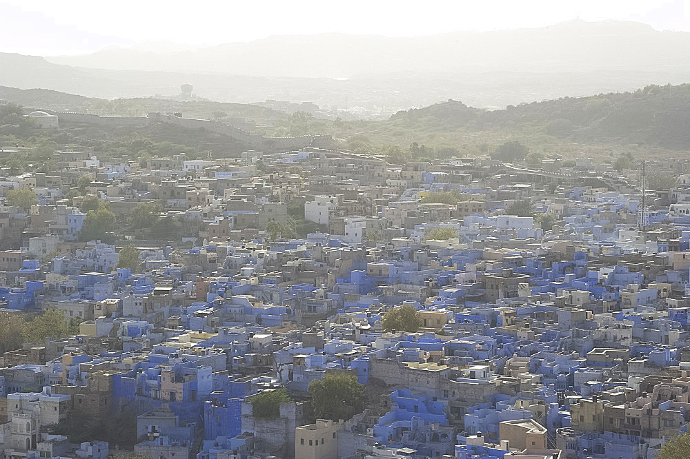 An aerial view of The Blue City, Jodhpur, Rajasthan, India, Asia