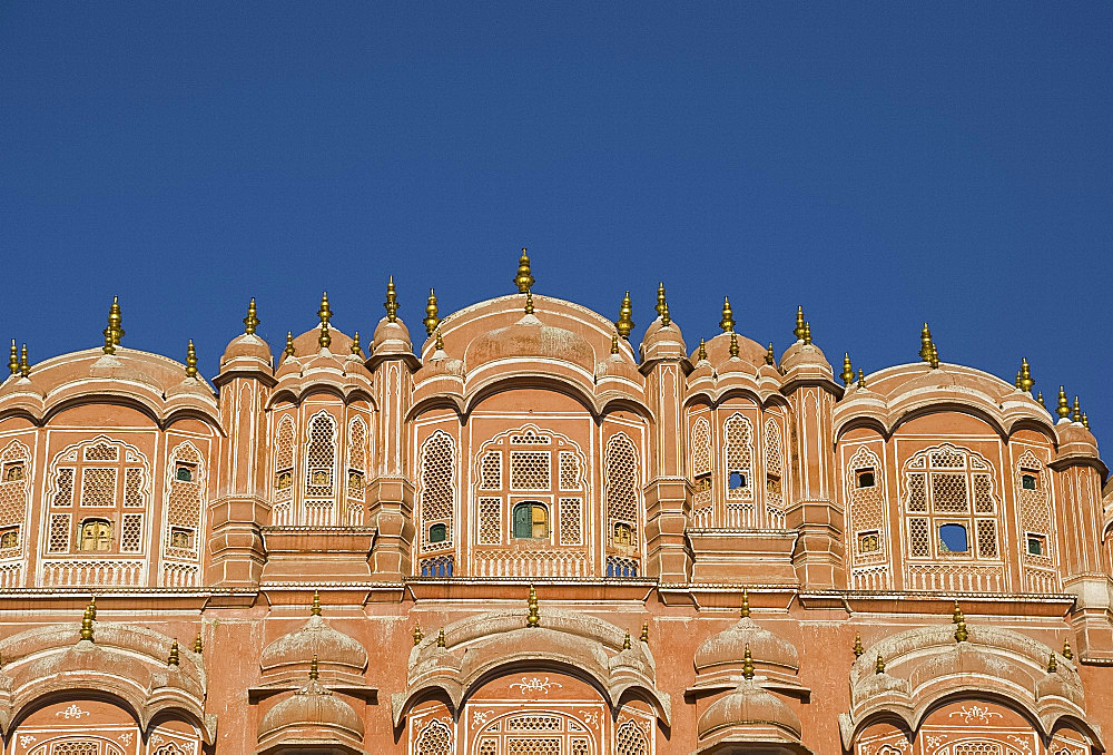 The ornate pink facade of the Hawa Mahal (Palace of the Winds), Jaipur, Rajasthan, India, Asia