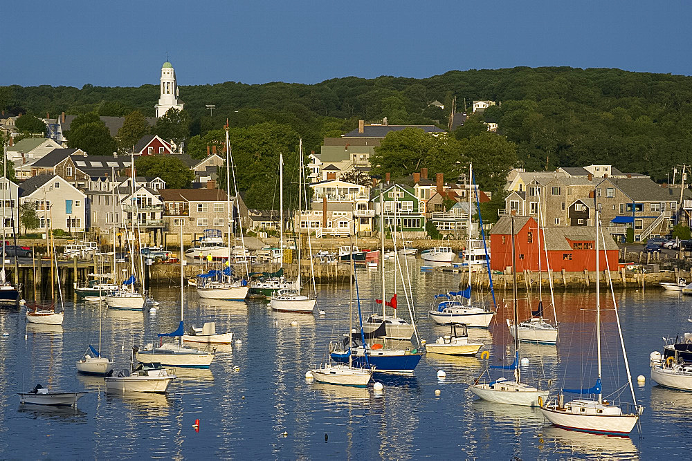 An early morning view of Rockport harbour, Rockport, Massachussetts, New England, United States of America, North America