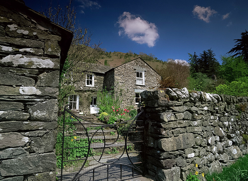 Old stone house and walls, Hartsop, Cumbria, England, United Kingdom, Europe