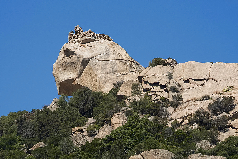 The Lion of Roccapina, a rock formation in the Gulf of Roccapina in the Sartenais region of southwest Corsica, France, Mediterranean, Europe