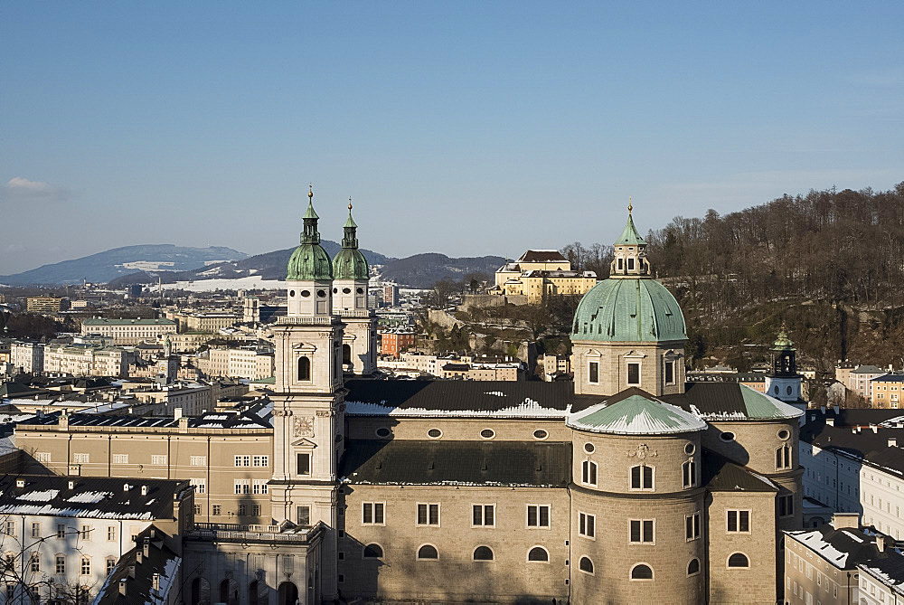 A view of the domes of the Salzburg Cathedral in the Altstadt, Salzburg, Austria, Europe