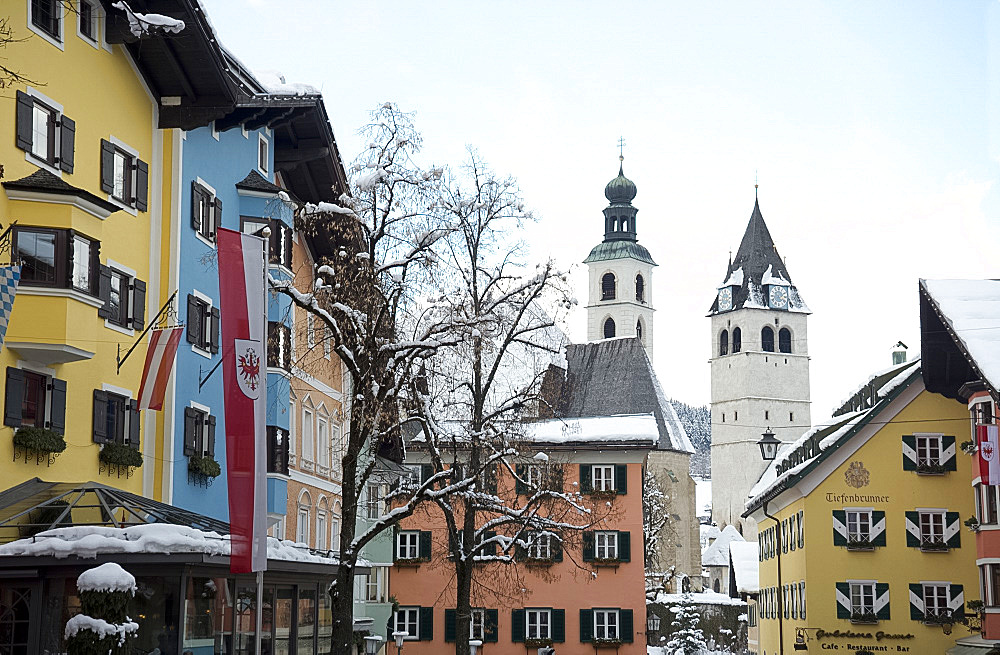 The main shopping street in the ski resort of Kitzbuhel, Austria, Europe