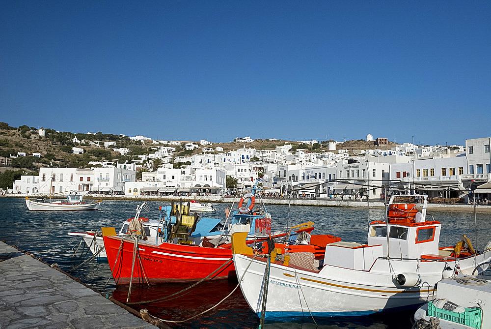 Colourful fishing boats in Mykonos Harbour, Mykonos Town, Mykonos, The Cyclades, Greek Islands, Greece, Europe