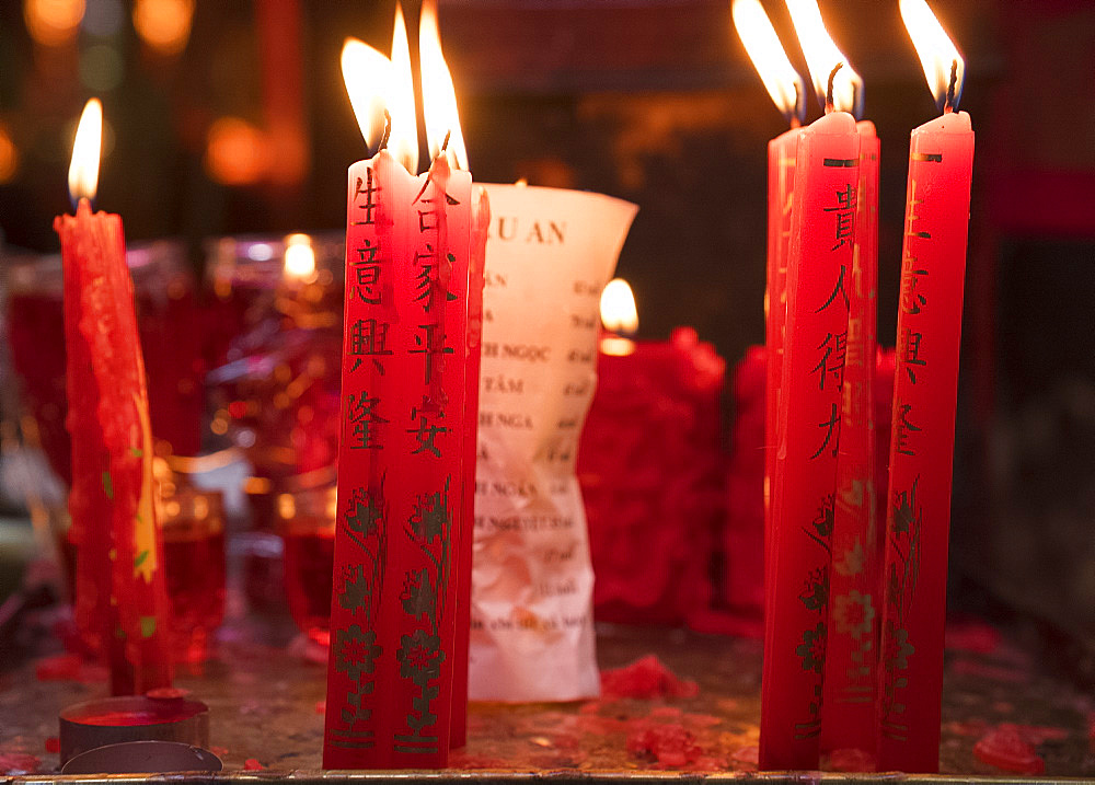 Prayer candles in the Jade Emperor Pagoda in Ho Chi MInh City, Vietnam, Indochina, Southeast Asia, Asia
