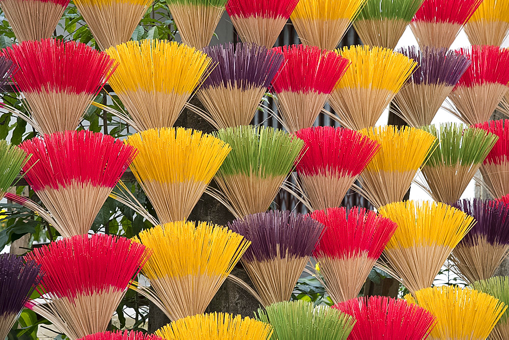 Colourful scented incense sticks drying near the Tomb of the Emperor Khai Dinh near Hue, Vietnam, Indochina, Southeast Asia, Asia