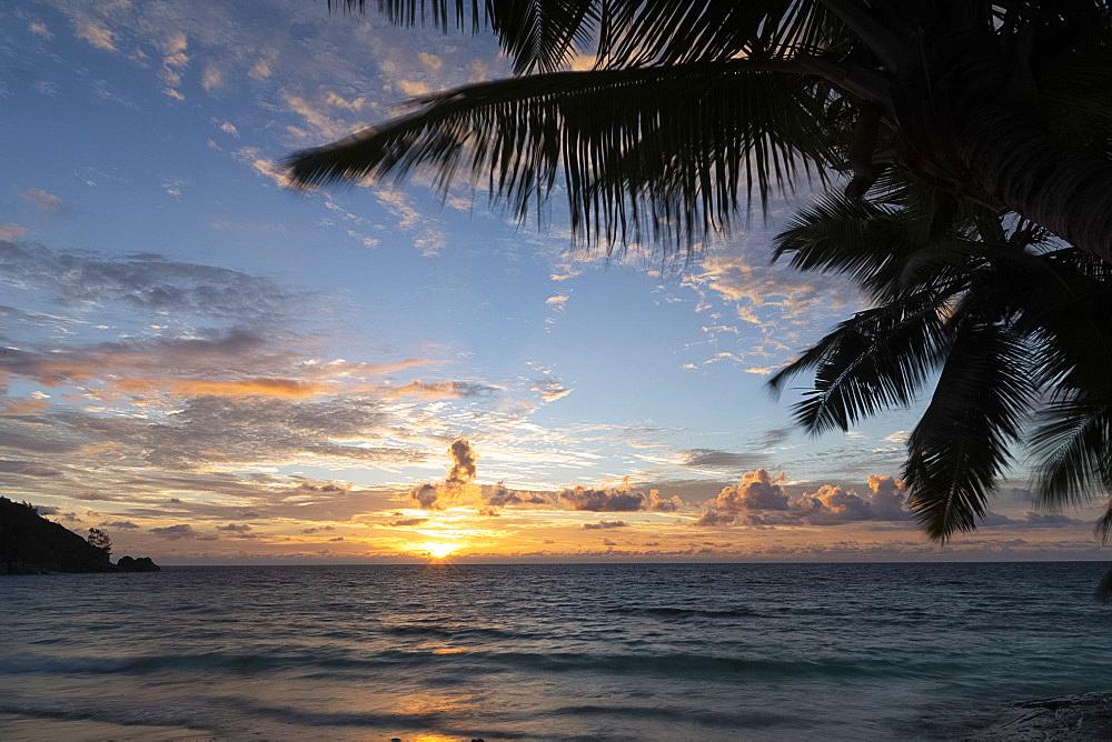 Sunset on Petit Anse, Mahe, Seychelles, Indian Ocean, Africa