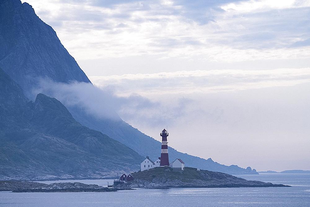 The Landegode lighthouse near Bodo on the north west coast of Norway, Scandinavia, Europe