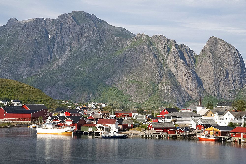 The picturesque fishing village of Reine surrounded by mountains on Moskenesoya, Lofoten Islands, Norway, Europe