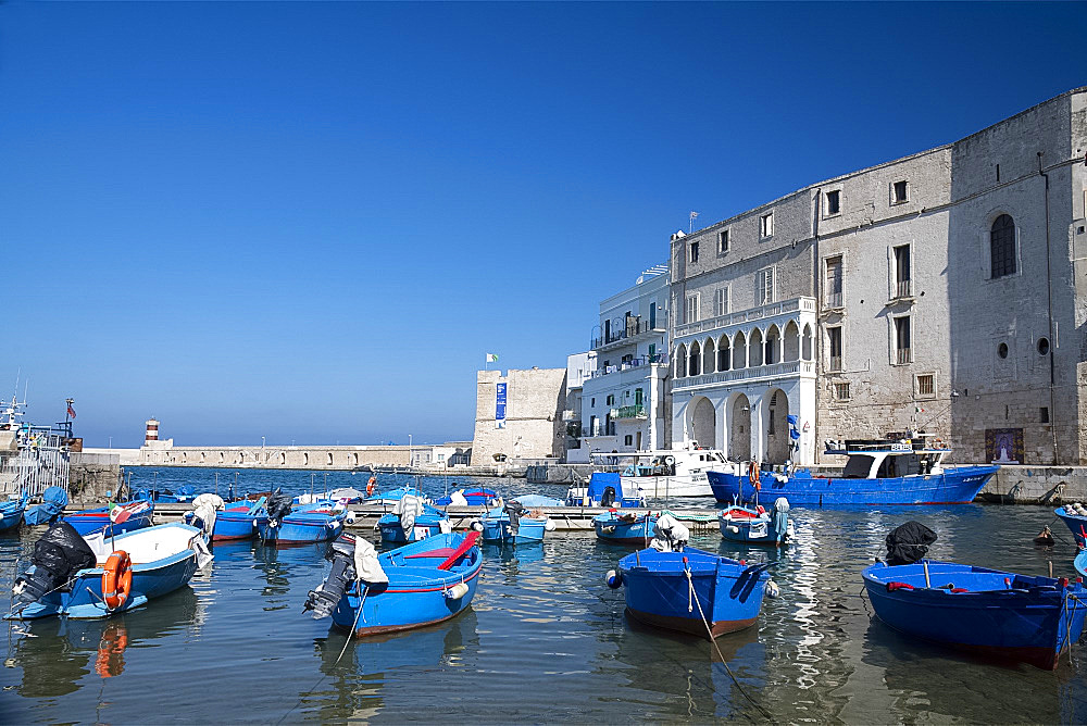 Colourful wooden boats in the harbour in Monopoli, Puglia, Italy, Europe
