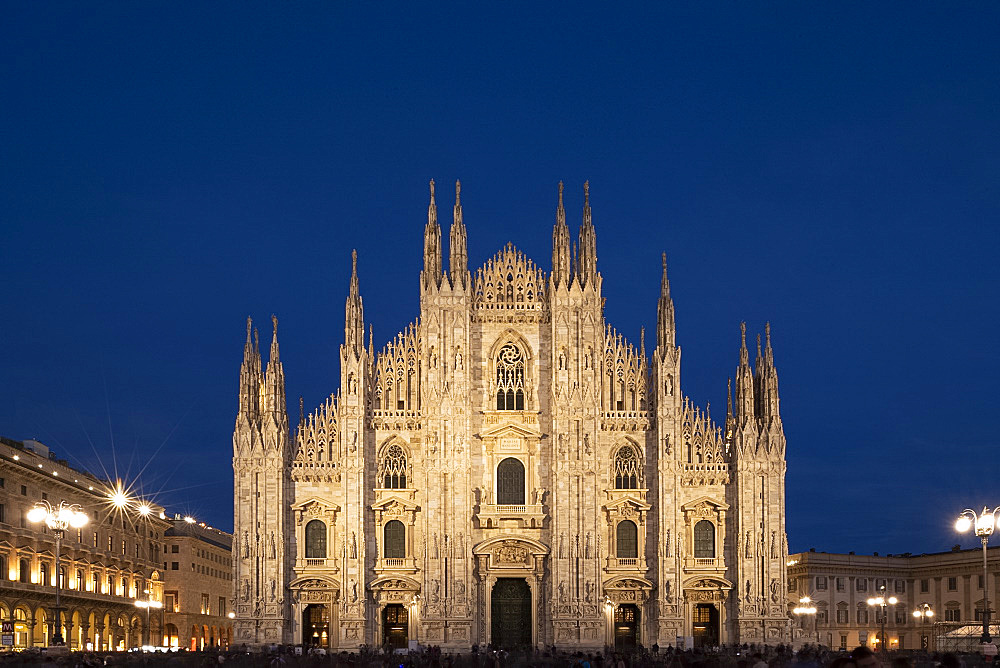 Gothic spires on the facade of the Milan Cathedral in the Piazza del Duomo at dusk, Milan, Lombardy, Italy, Europe