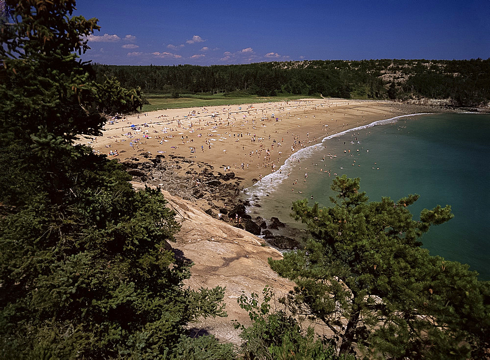 Sand Beach, Mount Desert Island, Acadia National Park, Maine, New England, United States of America, North America