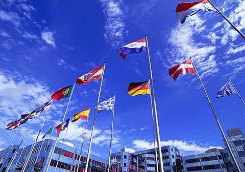 Flags of Europe in Front of the Europazentrum, Kirchberg, Luxembourg - 150-2352