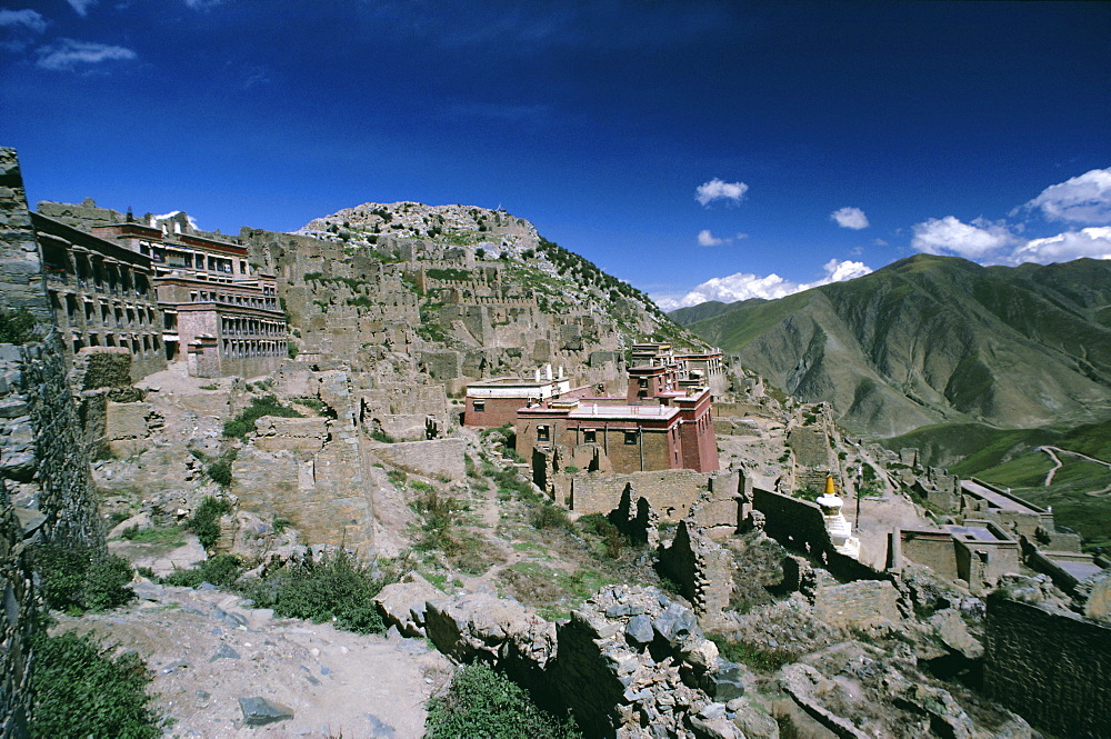 Rebuilding, Ganden monastery, Tibet, China, Asia