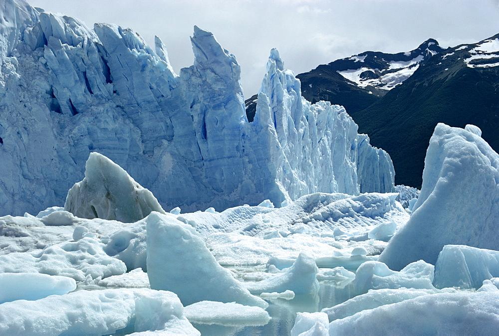 Loose ice from icebergs of the Perito Moreno Glacier in Argentina, South America